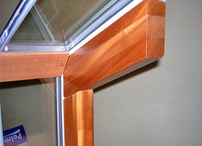 details of a wood sunroom frame joint