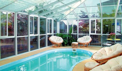 An Edwardian-style pool enclosure built for a Vancouver WA home